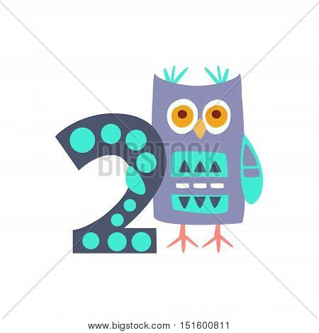 Owl Standing Next To Number Two Stylized Funky Animal. Weird Colorful Flat Vector Illustration For Kids On White Background,