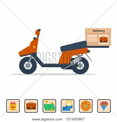 Vector isolated scooter with a box on the trunk to deliver various goods. Concept of service for pizza delivery, documents, flowers, valuable things, gifts, mail. Illustration in flat style