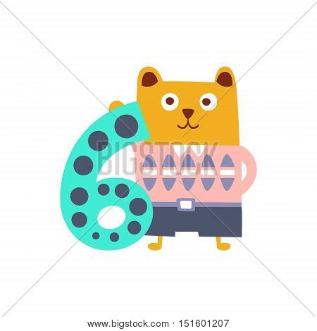 Bear Standing Next To Number Six Stylized Funky Animal. Weird Colorful Flat Vector Illustration For Kids On White Background,