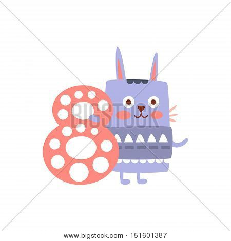 Rabbit Standing Next To Number Eight Stylized Funky Animal. Weird Colorful Flat Vector Illustration For Kids On White Background,