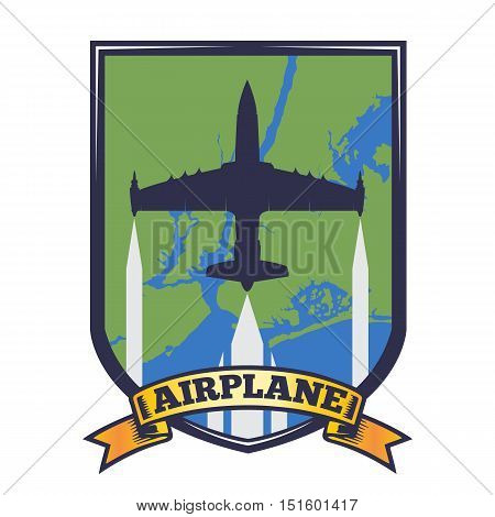 vector image silhouette of the aircraft on the arms of the aircraft with the image of blue green map