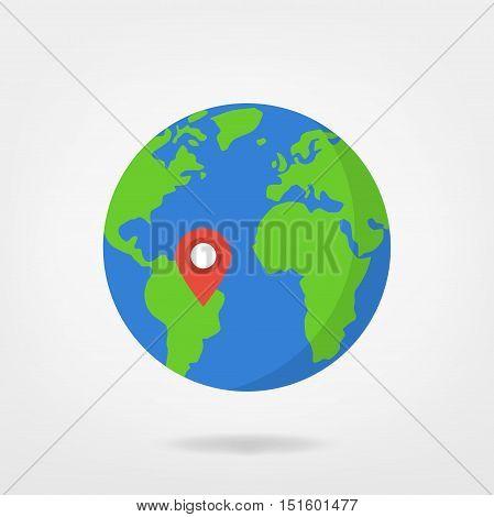 location marker on world illustration - south america