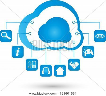 Logo, cloud computing, cloud and apps in blue, internet
