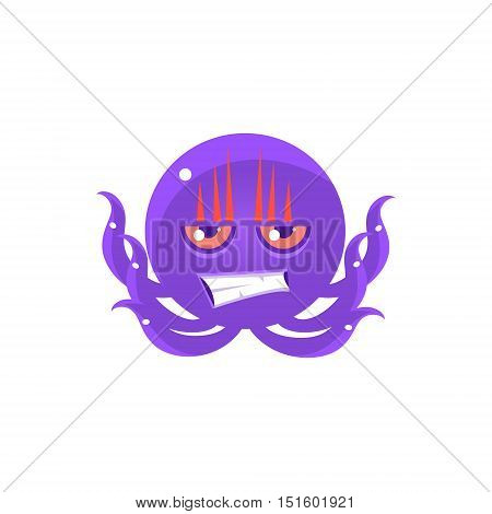Angry Funny Octopus Emoji. Cute Vector Emoticon In Cartoon Childish Style Isolated On White Background.