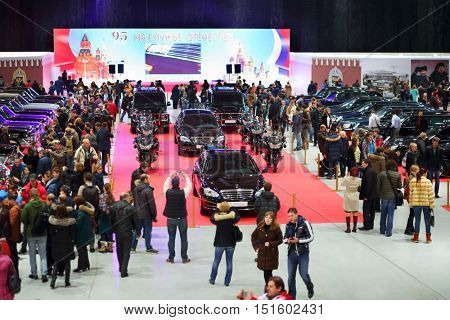 MOSCOW - MAR 07, 2016: Exhibition Oldtimer-Gallery in Sokolniki Exhibition Center. It is only one in Russia exhibition of vintage cars and technical antiques