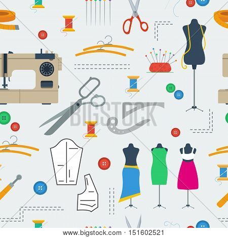 Vector seamless pattern with different sewing equipment scattered on grey. Background for tailors and sewing in flat style