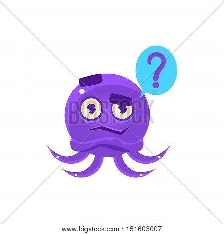 Funny Octopus Raising Eyebrow Emoji. Cute Vector Emoticon In Cartoon Childish Style Isolated On White Background.