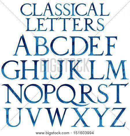 Classical blue watercolor font based on Renaissance sketch. Vintage architectural vector letters.