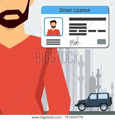 Vector illustration in flat style man with car and driver license in the corner of the banner. The concept of successful training in drivers school