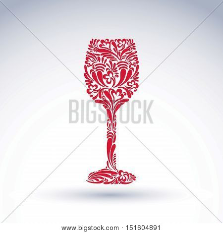 Creative goblet with floral ethnic pattern relaxation and alcohol theme vector object. Sophisticated wineglass romantic design element can be used in graphic design.