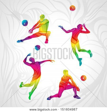 Vector volleyball players set people silhouettes summer game activity. Spectrum color silhouettes collection. Eps 10