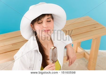 Summer - Young Woman Enjoy Ice Lolly