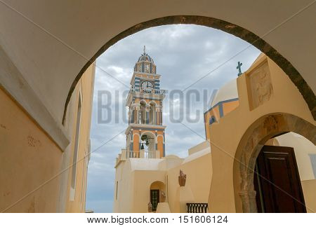The Catholic Church of St. John the Baptist in the town of Fira. Santorini. Greece.