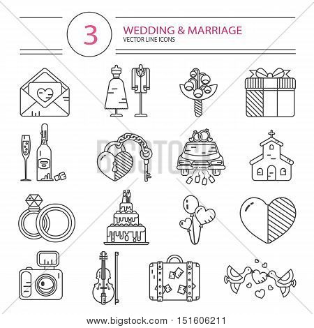 Vector modern line style icons set of wedding or marriage. Invitation, bridal bouquet, rings, champagne, bride, groom, cake, gift box, lock and key, birds, car, music, church, heart, camera, baggage.