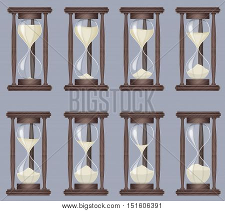 Sandglass icons animation set. Time hourglass, realistic sandclock process timer