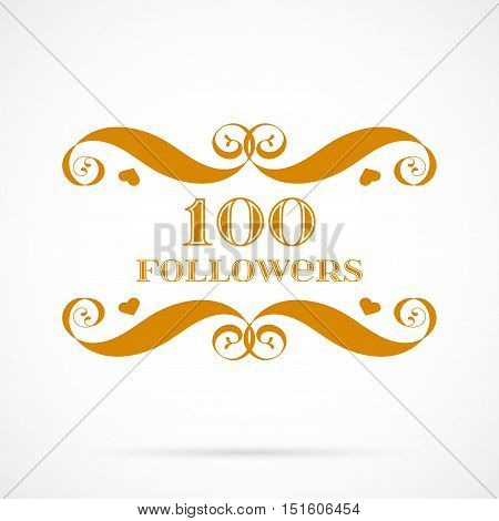 Vector 100 followers badge over white. Easy use and recolor elements for your design.