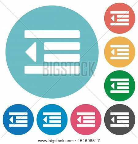 Flat Decrease text indent icon set on round color background.