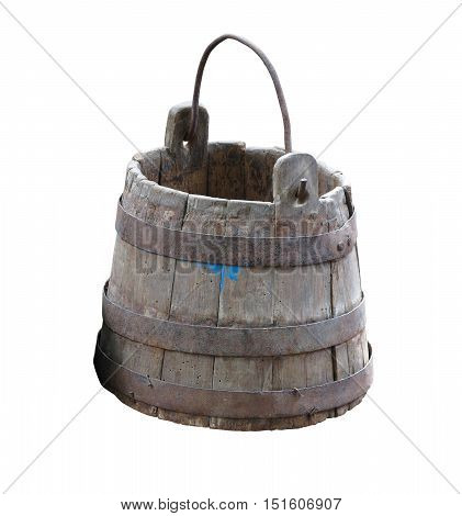 Vintage Wooden Bucket With Metal Ring And Handle Isolated Over White