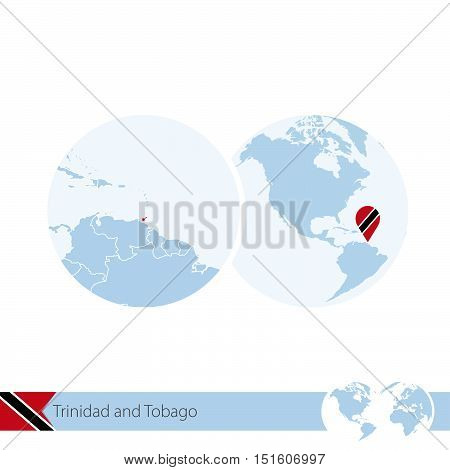 Trinidad And Tobago On World Globe With Flag And Regional Map Of Trinidad And Tobago.