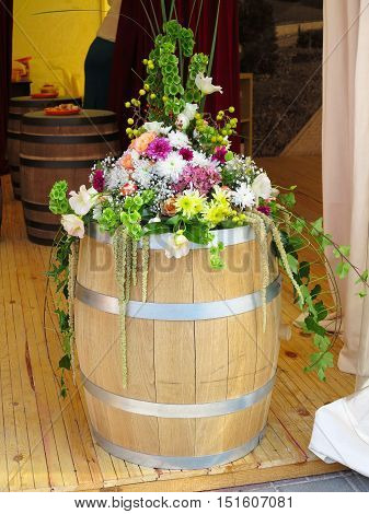Wooden Barrel With Flower Decoration