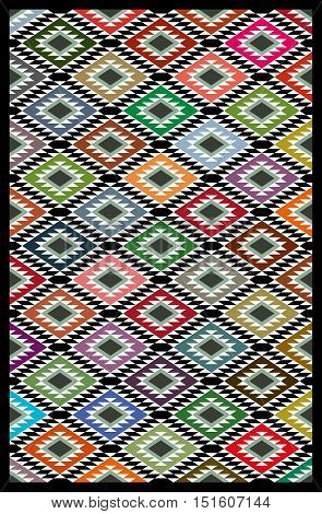Colorful Arabian Sadu Themed Quilt Blanket Texture Pattern