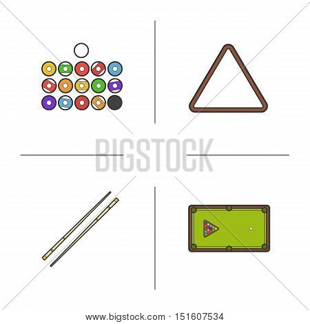 Billiard color icons set. Balls, ball rack, cues and table. Cuesports accessories. Pool equipment. Isolated vector illustrations