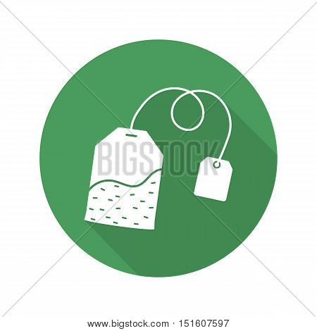 Teabag flat design long shadow icon. Green tea bag with label. Vector silhouette symbol