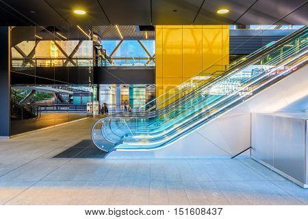 London UK - September 21 2016 - Escalator to the Crossrail station in Canary Wharf