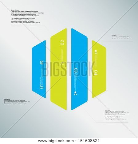 Hexagon Illustration Template Consists Of Four Color Parts On Light Blue Background