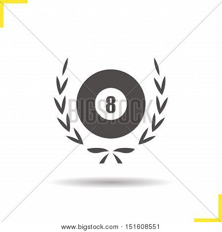 Eight ball in laurel wreath icon. Drop shadow silhouette symbol. Billiard championship. Negative space. Vector isolated illustration