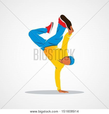 Breakdancer dancing and making a frieze on one hand hip hop acrobatic Branding Identity Corporate logo design template Isolated on a white background. Photo illustration.