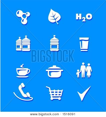Icons Water Food Shopping