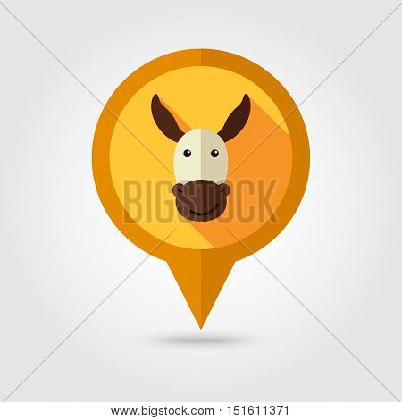 Donkey flat pin map icon. Map pointer. Map markers. Animal head vector illustration eps 10