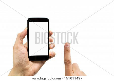 Finger touching screen of a phone with blank screen and white background