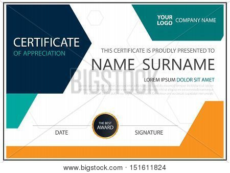 Colorful hexagon horizontal certificate with Vector illustration white frame certificate template with clean and modern pattern presentation
