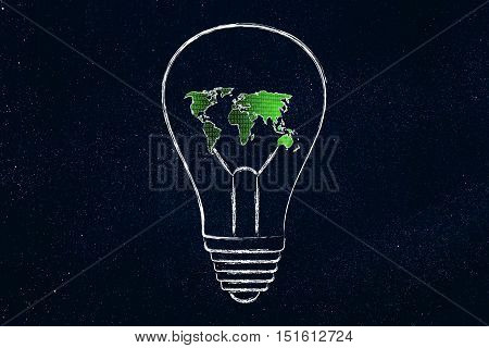 Lightbulb With Map Of The World Made Of Binary Code
