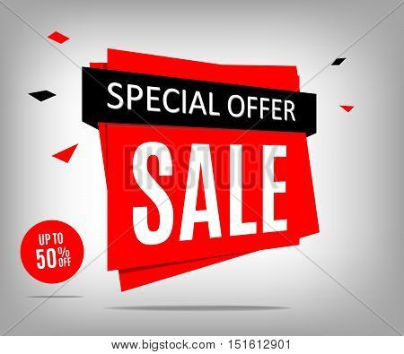 Red sale banner on a abstract gray background. Special offer discount poster. Vector illustrration eps 10