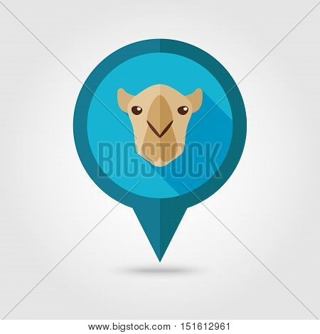 Camel flat pin map icon. Map pointer. Map markers. Animal head vector symbol eps 10
