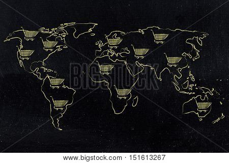 Map Of The World With Shopping Cart All Over, Global Marketing