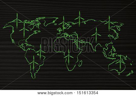 concept of renewable energy: map of the world with wind turbine all over