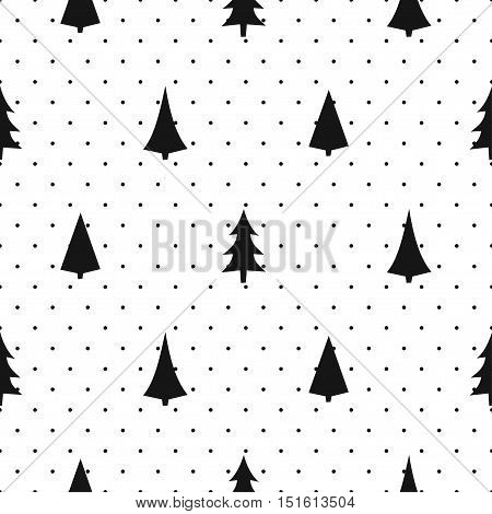 Black and white simple seamless Christmas pattern - varied Xmas trees. Happy New Year polka dots background. Vector design for textile, wallpaper, fabric, wrapping paper.