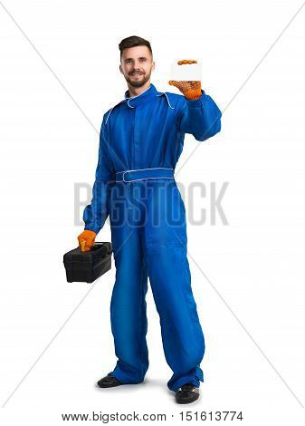 Confident service man with toolbox isolated on white background