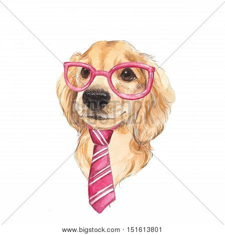 Cute dog. Glasses and tie. Hand painted. Watercolor illustration.