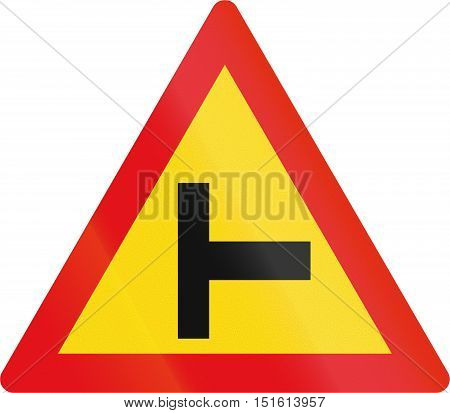 Temporary Road Sign Used In The African Country Of Botswana - Side Road Junction From The Right