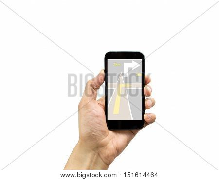 Hand holding mobile smart phone with gps on white background