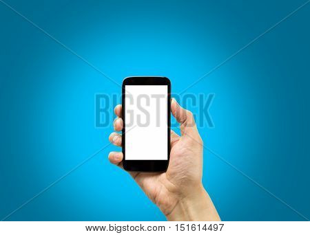 hand holding a smartphone with blue background