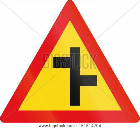 Temporary Road Sign Used In The African Country Of Botswana - Staggered Side Road Junctions