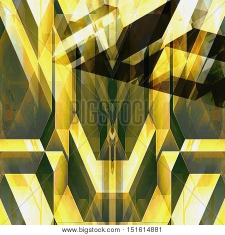 Abstract futuristic background with geometric shapes reminiscent of modern architecture. Polygonal gold, green and brown futuristic background of polygonal shapes and intersecting lines