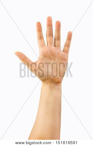 Cropped shot of hands with with open palm