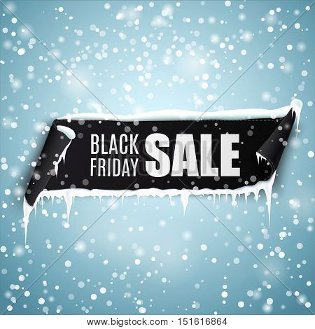 Black Friday Sale background with black realistic curved ribbon banner, icicles and snow. Vector illustration